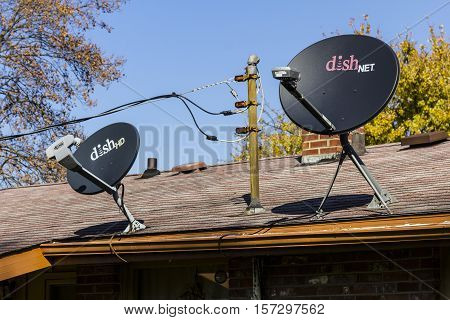 Kokomo - Circa November 2016: Pair of DISH Network Satellite Receiver Dishes. DISH Network provides both television and internet services I
