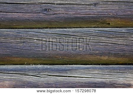 Old Weathered Natural Log Cabin Aged Wall Facade Fragment Texture. Rustic Log Wall Horizontal Grey Gray Background. Fragment Of Unpainted Brown Wooden Debarked Logs Barn Wall. Black House Wood Old Wall