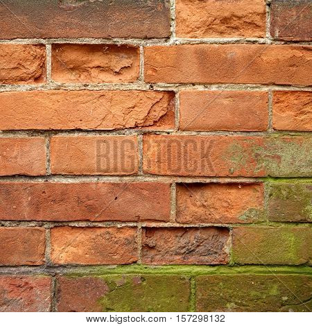 Shabby Uneven Brickwall Frame Background. Grungy Stone Wall Rectangular Surface. Old Red Brown Brick Wall Square Texture. Rectangular Design Element For Home Interior Design In Vintage Modern Style.