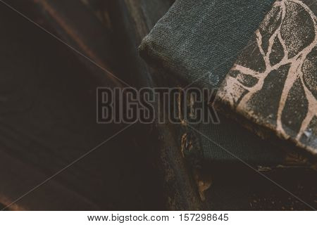 Old Antique Book Collection, Antique Books, Collectibles. Shallow Focus And Film Texture