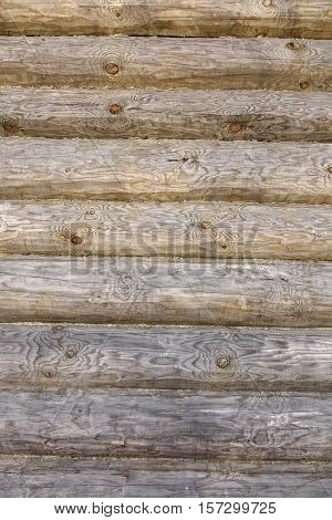 Modern Rustic Natural Log Cabin Wall Facade Vertical Background Texture