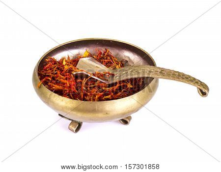 Saffron in a Bowl on a White Background