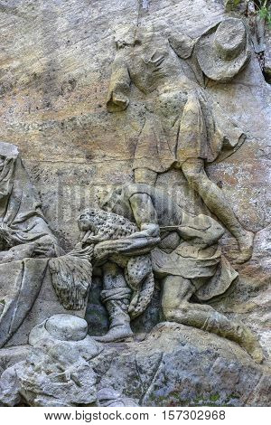 Kuks Forest Sculptures - Adoration of the Shepherds - detail of the Baroque relief by Matthias Bernard Braun from 1727