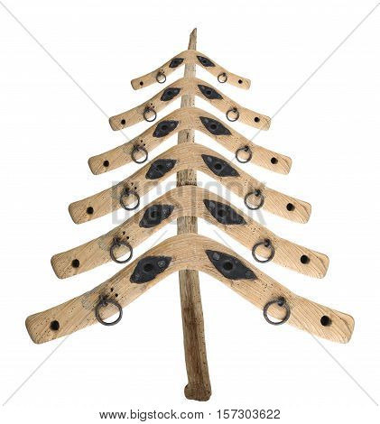 Bizarre Christmas tree from the old yoke of a piece of wood on white background