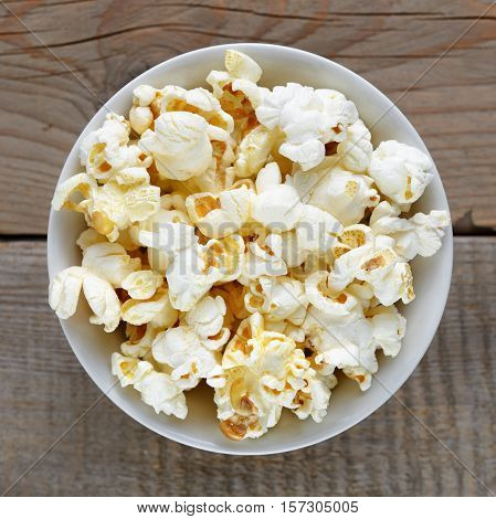 Popcorn close up in bowl top view