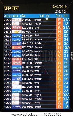 KOLKATA, INDIA - FEBRUARY 12: Flight board at the airport in Kolkata airport, on February 12, 2016 in Kolkata, India.