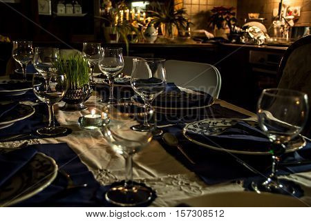 Close up of a table served for rich Christmas dinner in living room
