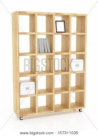 Wooden Book Rack Isolated On White Background. Include Clipping Path