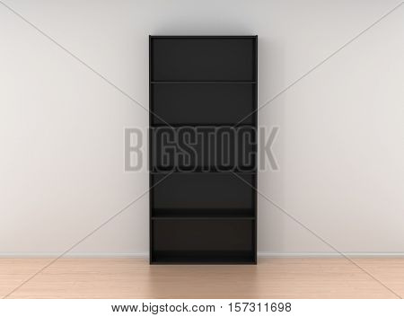 Empty Wooden Bookcase Isolated Against The White Wall In Bright Interior
