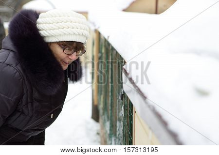 Senior woman looking at animals in zoo