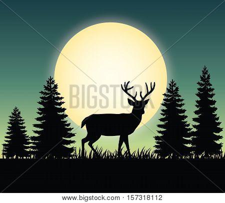 Deer forest landscape scenic natural - forest deer landscape scenery vector illustration flat stock
