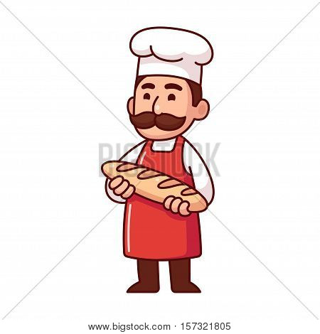 Baker holding loaf of bread cute character in traditional uniform with mustache. Isolated vector illustration.