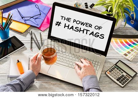 hashtag post viral web network media tag business topics topic success laptop notebook content sharing concept - stock image