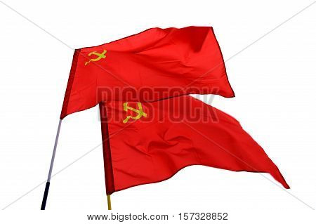 Two red Soviet USSR flags on wind isolated