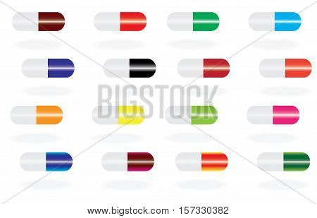 Colored pills and drugs isolated over white background medical pill and tablet icons vector illustration set