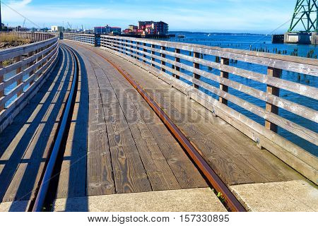 Trolly tracks and Columbia River in Astoria Oregon