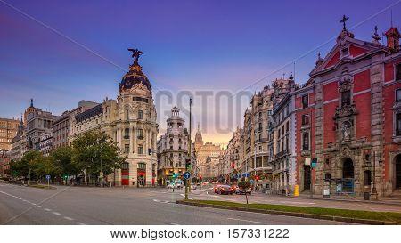 Madrid. Panoramic cityscape image of Madrid, Spain during sunrise.