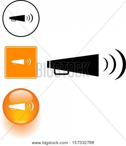 bullhorn symbol sign and button