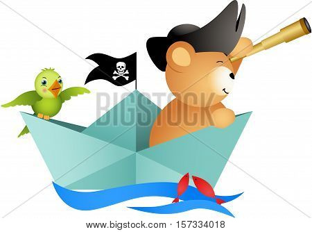 Scalable vectorial image representing a pirate teddy bear on boat with bird, isolated on white.