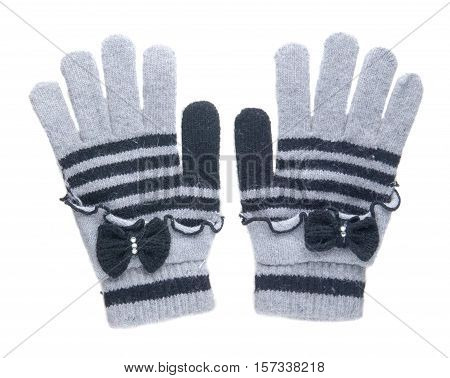 Knitted Gloves. Gloves Isolated On White Background. Gloves A Top View . Gray Gloves With Blue Strip