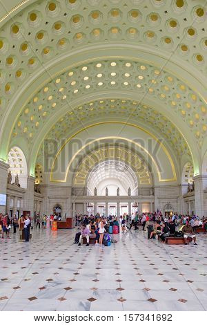 WASHINGTON D.C.,USA - AUGUST 17,2016 : The interior of Union Station, the historic train and bus station in Washington D.C.