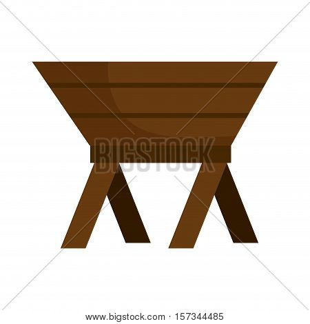 baby cot of wood manger icon vector illustration design