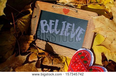 Believe word hand written card background drawing style on a chalkboard in a pile of autumn leaves concept of believe in yourself, believe in dreams, believe in success, making a difference, Giving Tuesday, seasons change with a bright red heart hand made