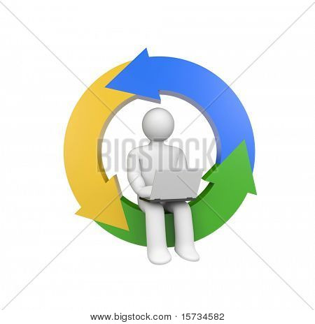 Person work on laptop. Development metaphor. Image contain clipping path