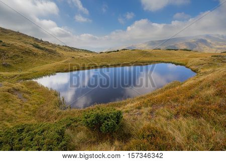 Clear lke clouds and Svydovets ridge. Carpathians