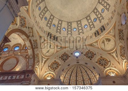 Milan, Italy - November 15, 2016: the abside roof of church Santa Maria Delle Grazie.
