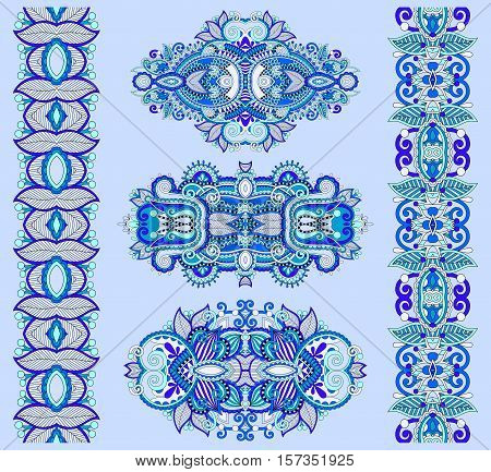 ornamental ethnic blue floral paisley adornment, page decoration and stripe pattern, vector illustration