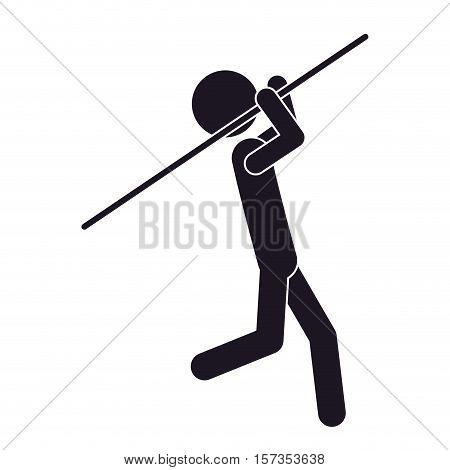 monochrome silhouette with gymnast launch Javelin vector illustration vector illustration