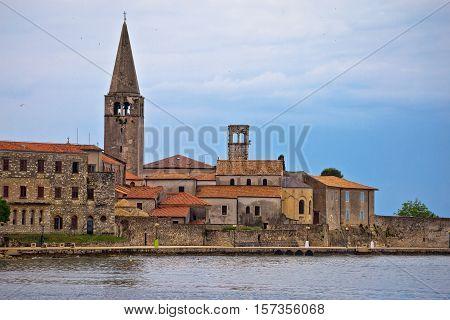 View of Porec town UNESCO landmark Euphrasian basilica in Istria Croatia
