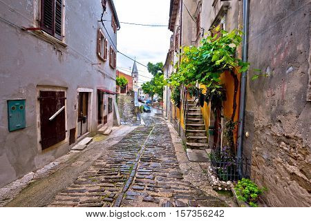 Old stone paved street of Buje town in Istria Croatia