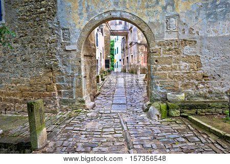 Stone gate of Groznjan village Istria Croatia