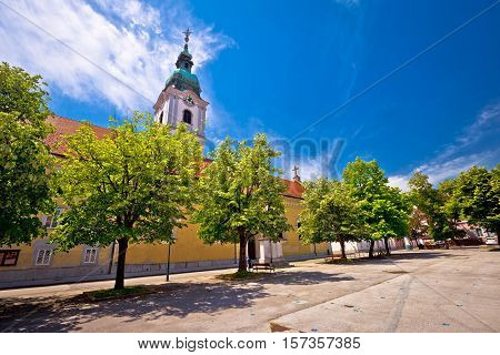 Karlovac central square church and park town in Croatia