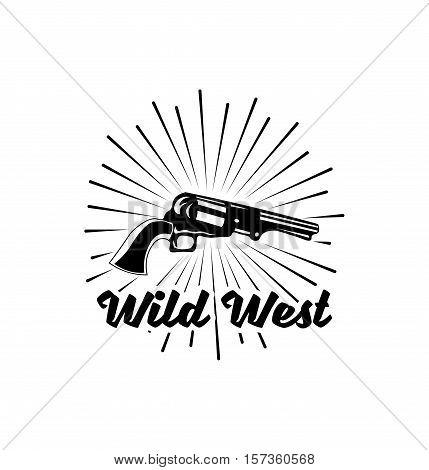 Wild West. Hand Drawn Old West Hand Gun. Vector Illustration