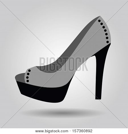 Single women platform high heel studded shoe icon on gray gradient background