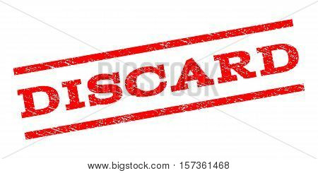 Discard watermark stamp. Text tag between parallel lines with grunge design style. Rubber seal stamp with scratched texture. Vector red color ink imprint on a white background.
