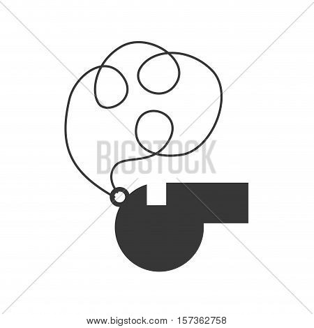 monochrome silhouette of whistle with cord vector illustration
