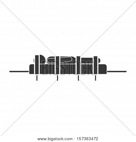 monochrome silhouette male in stretcher attached with straps vector illustration