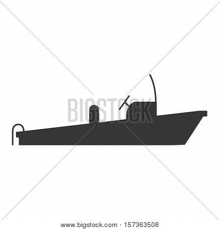 monochrome silhouette with rescue boat vector illustration