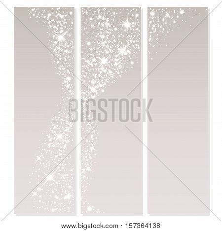 Vector background of glowing light effect stars. Shining glitter particles allocated on neutral background. Dust sparks. Space for your message. Eps 10 vector illustration.