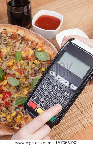 Using Payment Terminal For Paying In Restaurant, Enter Personal Identification Number, Vegetarian Pi