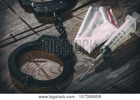 Handcuffs And Narcotic