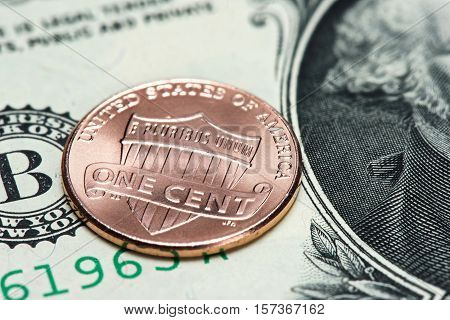 Us Coin And Banknote. One Cent