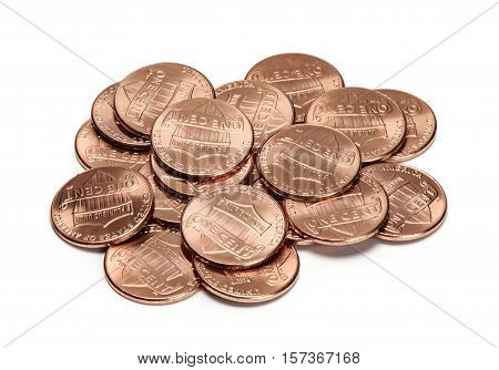 Heap Of One Cent Coins Isolated