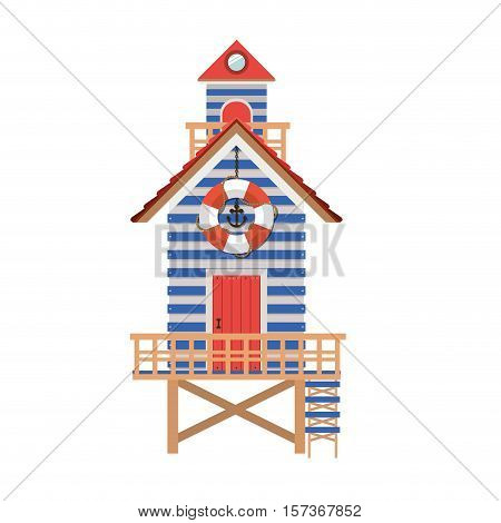 full color with lifeguard stand vector illustration