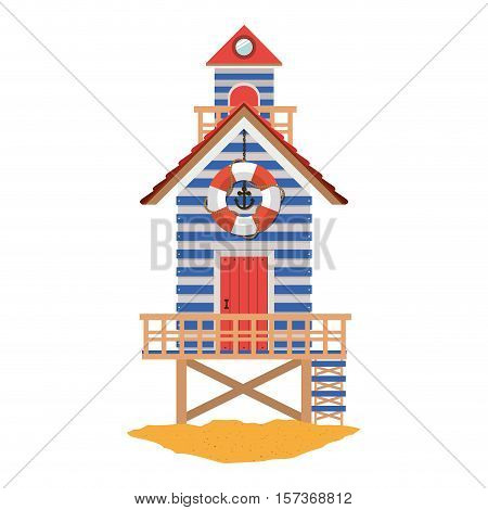 full color with lifeguard stand over sand vector illustration