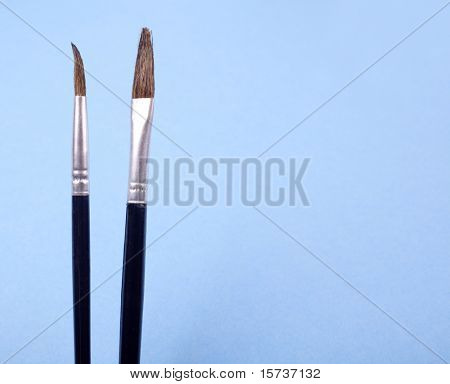 Two painbrushes on blue background